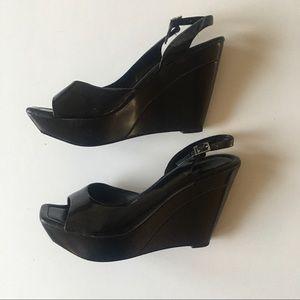 Jessica Simpson black patent wedges, size 7